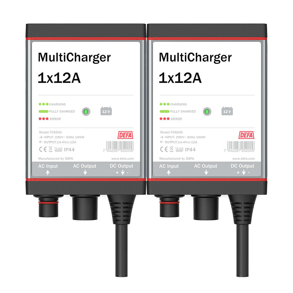 Onboard battery charger MultiCharger 2x12A, front