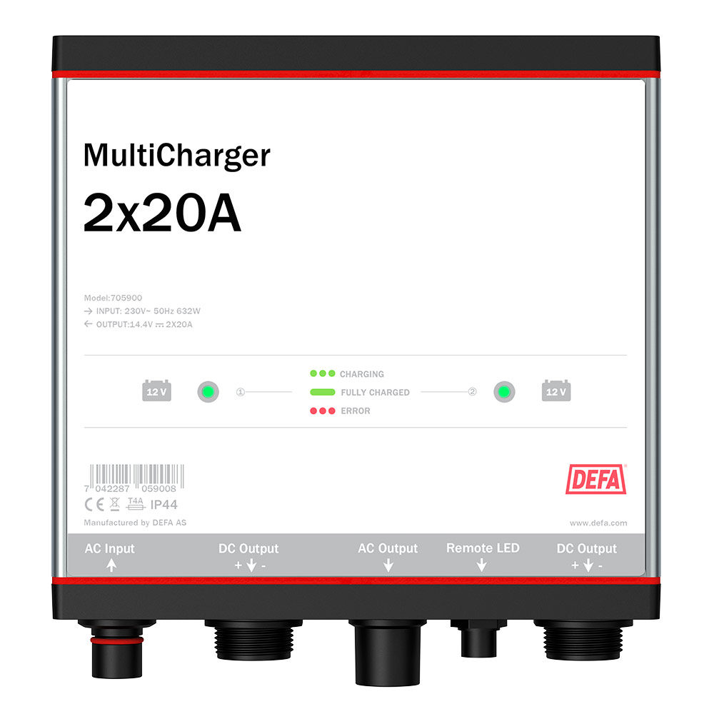 Onboard battery charger MultiCharger 2x20A, front