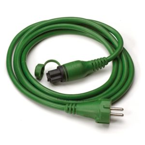 Green MiniPlug connection cable, coiled, white background