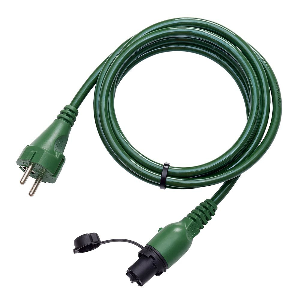 Green MiniPlug Extreme connection cable, coiled, white background