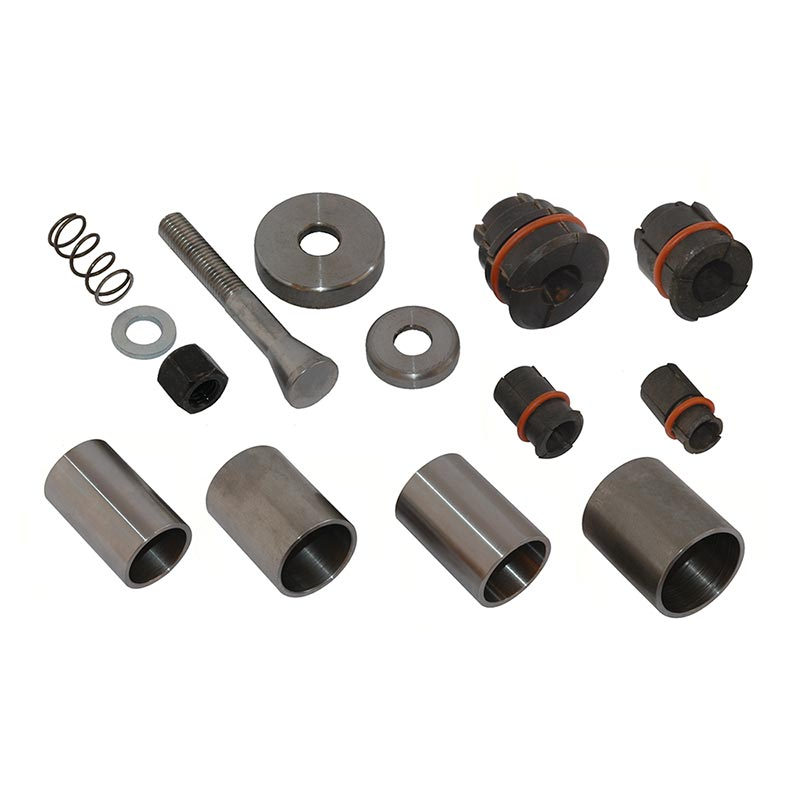 Extractor tool kit for deep frost plugs, consisting of extractors and adapter sleeves