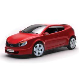 DEFA alarm vindusdekal på rød bil