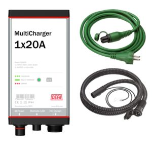 Battery charging kit consisting of MultiCharger 1x20A battery charger, inlet cable and connection cable