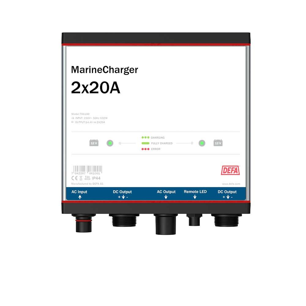 MarineCharger 2x20A batteriladdare, vit bakgrund