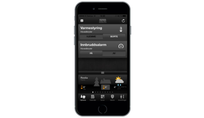 Skärmdump DEFA app för fritidshus - dashboard