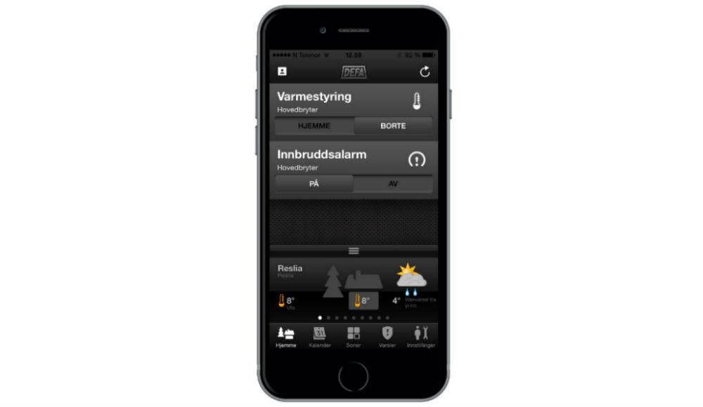 DEFA appen med varmestyring og sikkerhetsvarsler. Mer enn bare