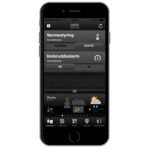 Skjermdump av dashboard for hyttestyring app