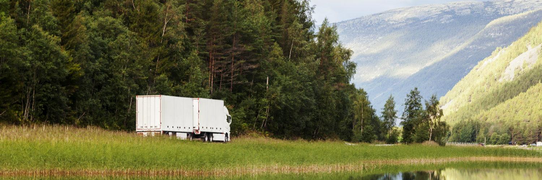 Lastbil i skog
