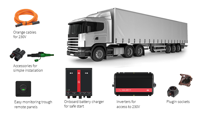 Inverters and battery chargers for heavy truck