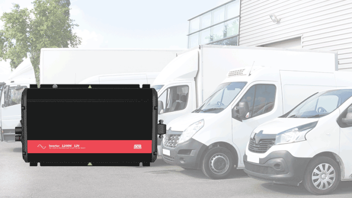 Inverter 1200W in front of light commercial vehicles of various sizes