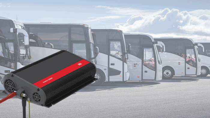 Inverter in front of a row of coaches