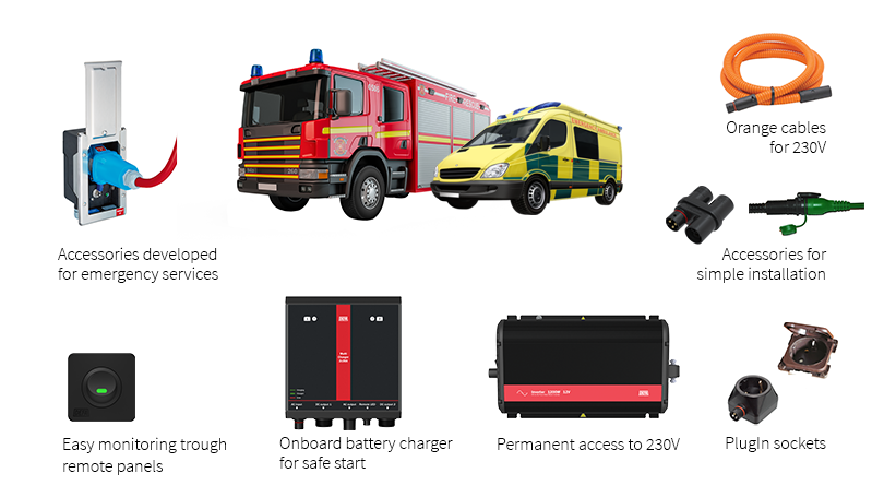 PlugIn system for fire truck and ambulance