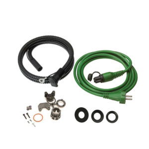 Heating system connection kit, consisting of MiniPlug inlet cable, MiniPlug connection cable, and mounting rings/gear