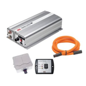 DEFA InverterKit 1000W/12V, consisting of an inverter, a double power outlet, a coiled extension cable, and a remote control panel