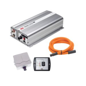 Sett med inverter, strømuttak, fjernstyringspanel og kabel