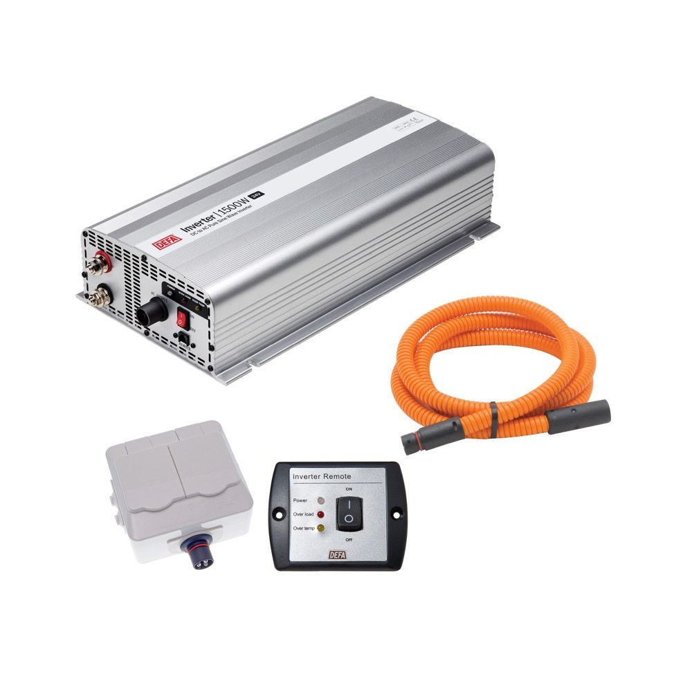 DEFA InverterKit 1500W/24V, consisting of an inverter, a double power outlet, a coiled extension cable, and a remote control panel
