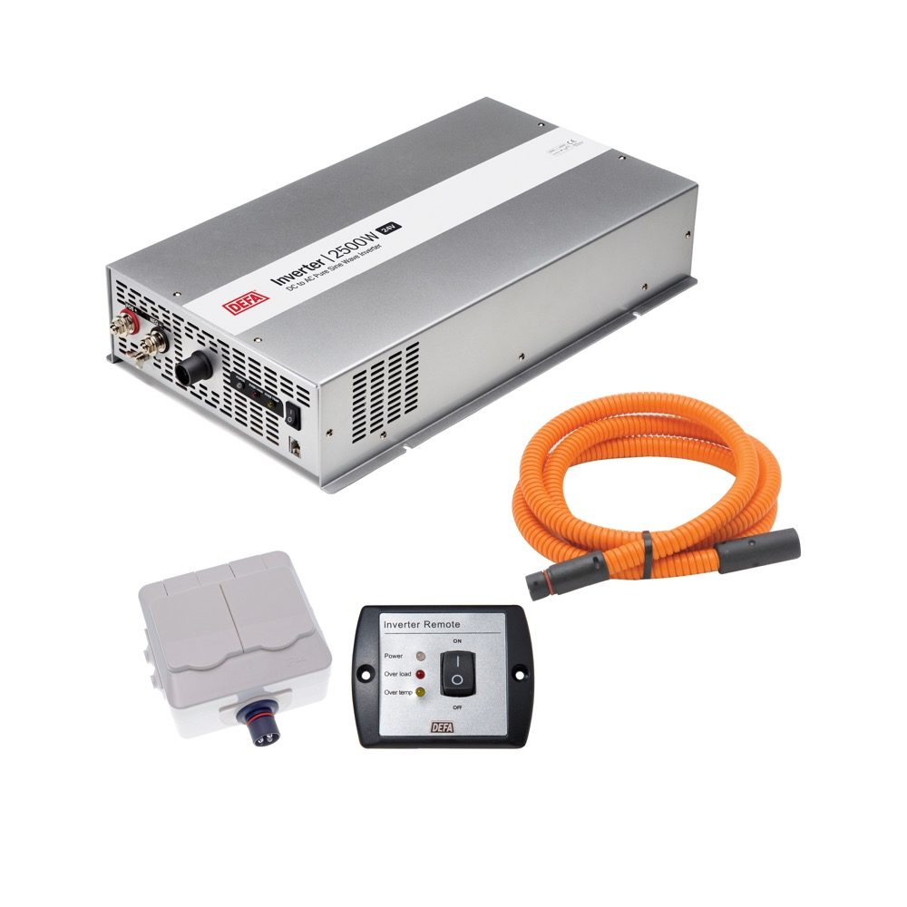 DEFA InverterKit 2500W 24V, consisting of an inverter, a double power outlet, a coiled extension cable, and a remote control panel
