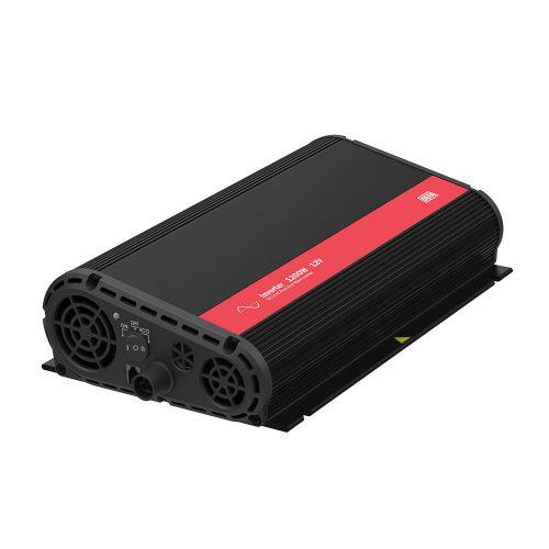 Inverter 1200W 12V, uten switch, produktfoto, liggende på skrått med tilkoblingspanel synlig