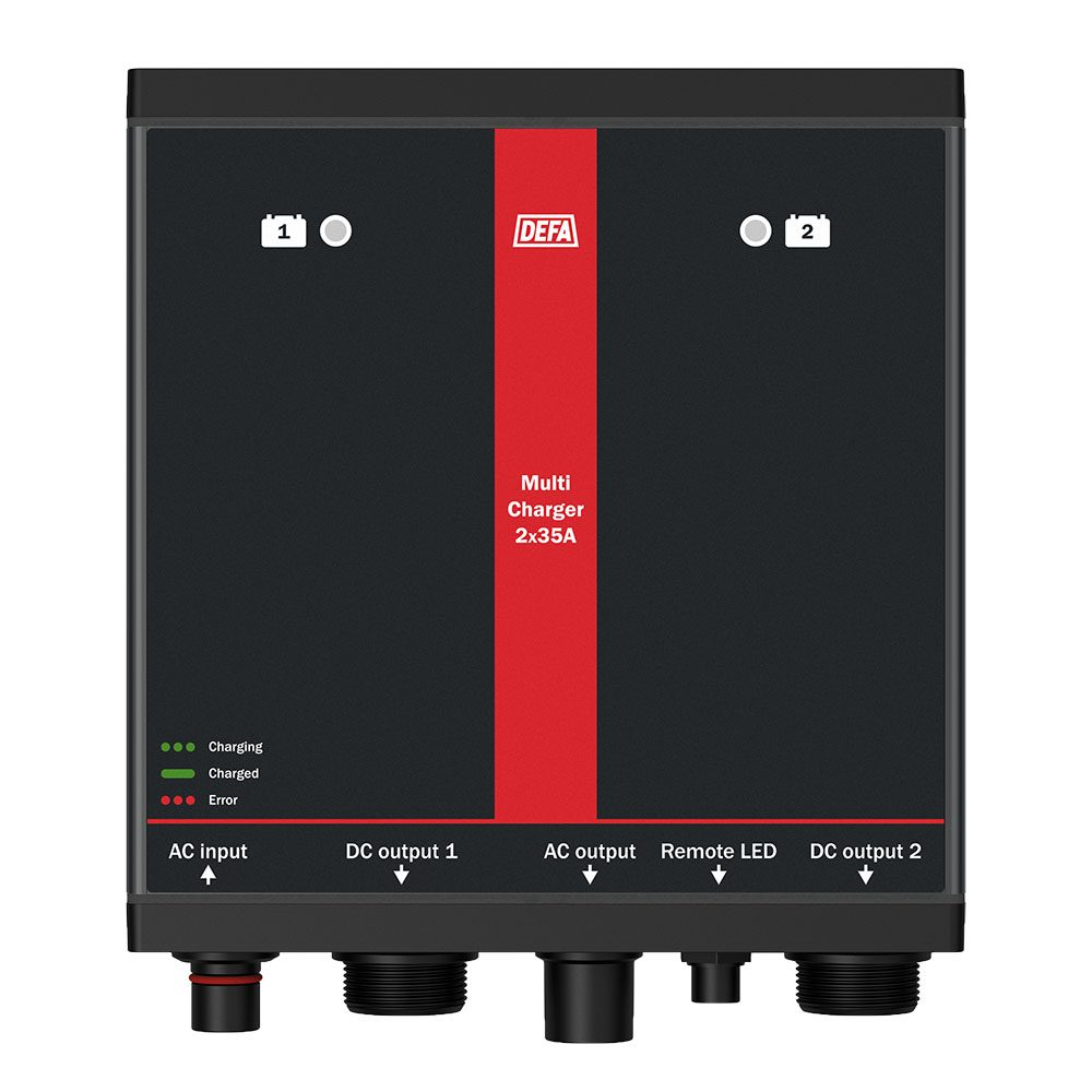 Fastmontert batterilader MultiCharger 2x35A, front