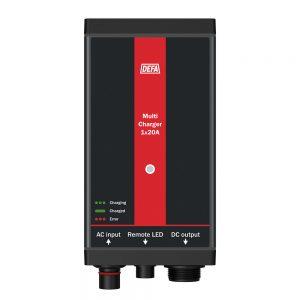 Fastmontert batterilader MultiCharger 1x20A, front