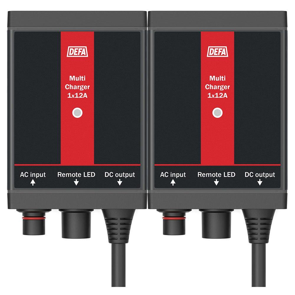 Fastmontert batterilader MultiCharger 2x20A, front