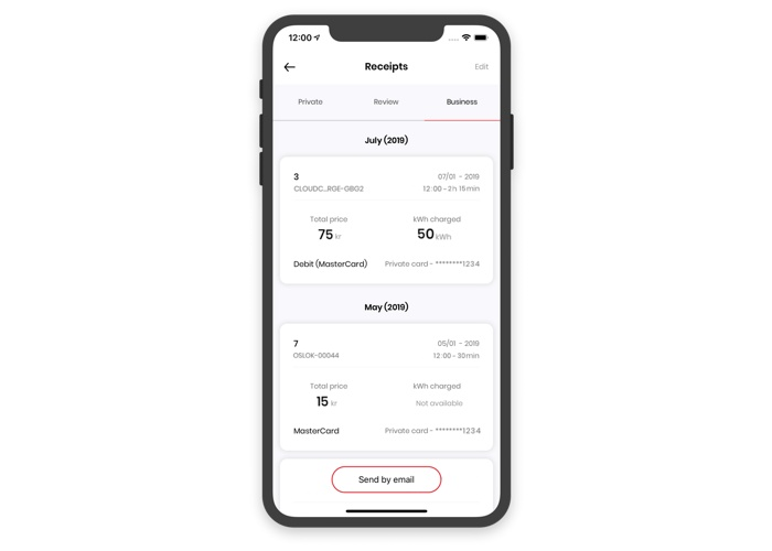 Screenshot CloudCharge app, charging receipts