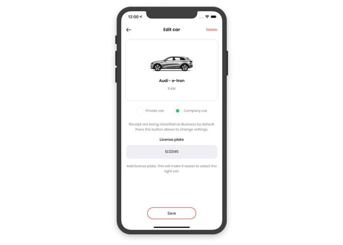 Skärmdump CloudCharge App - bilinställningar