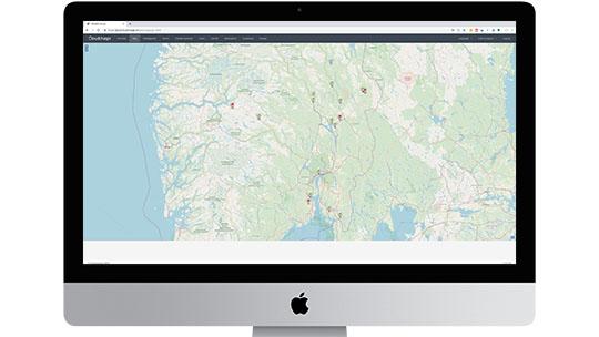 Skærmbillede CloudCharge Admin Portal - Kort