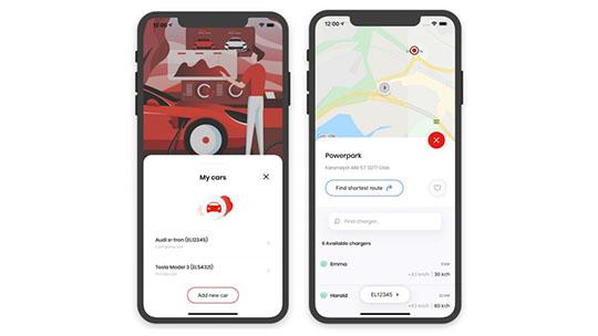 To screenshots fra cloudcharge appen i telefoner.