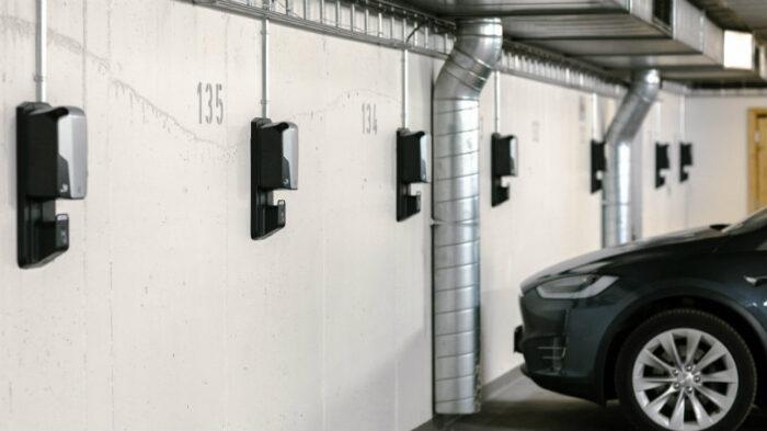 Laddboxar i parkeringshus