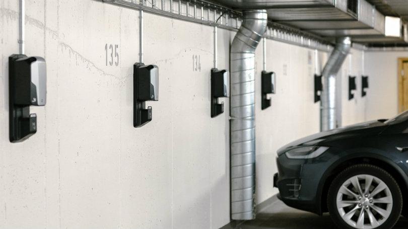 Ladebokser i parkeringsgarage