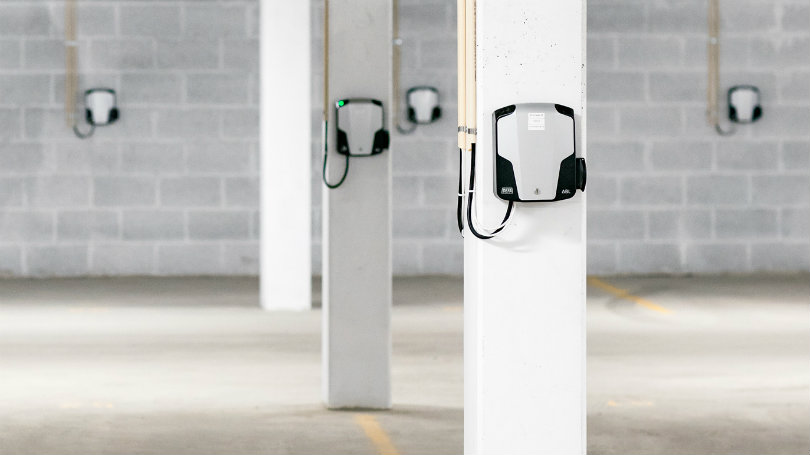 Charging stations in the Fornebuporten facility
