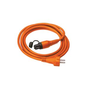 Orange MiniPlug cable coiled, white background